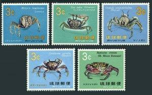 RyuKyu 173-177,MNH.Michel 202-206. Crabs 1968-1969.