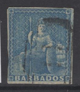 BARBADOS SG9 1855 1d PALE BLUE USED