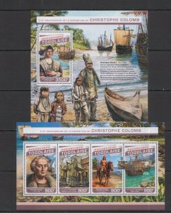 TG199 2016 TOGO TRANSPORT SHIPS 510TH ANNIVERSARY CHRISTOPHER COLOMB KB+BL MNH