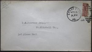 Cover - True 3 Cent Bisect to 1 1/2 Ct 3rd Class Mail rate - Chase Va S13