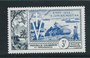 New Caledonia C25 1954 10th Liberation single MNH