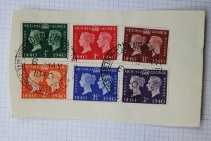 GB sc#252-257 FDC 1940 set used on Piece Bournemouth Centenary special cancel