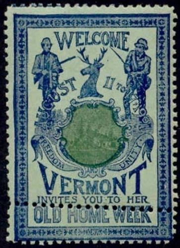US 1901 Vermont Old Home Week Poster Stamp with Perf Freak (B-G-G)