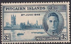Pitcairn Islands 1946 KGV1 3d Blue Victory MM SG 10 ( F1060 )