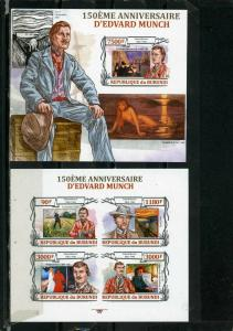 BURUNDI 2013 PAINTINGS BY EDVARD MUNCH SHEET OF 4 STAMPS & S/S IMPERF. MNH