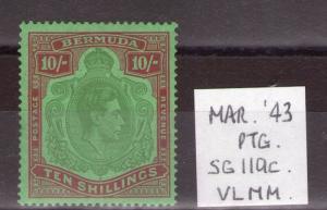 BERMUDA George VI 10/- SG119c March ptg. lightly hinged