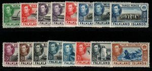 FALKLAND ISLANDS SG146/61c 1938-50 DEFINITIVE SET TO 5/= MTD MINT