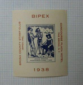 1938 BIPEX Concourse PLaza Hotel NY Philatelic Souvenir Label Ad