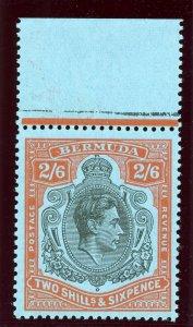 Bermuda 1950 KGVI 2s6d black & orange-red/pale blue (p13-O) superb MNH. SG 117c.