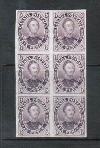 Canada #2TCi Extra Fine Mint Proof Block Of Six On India Paper