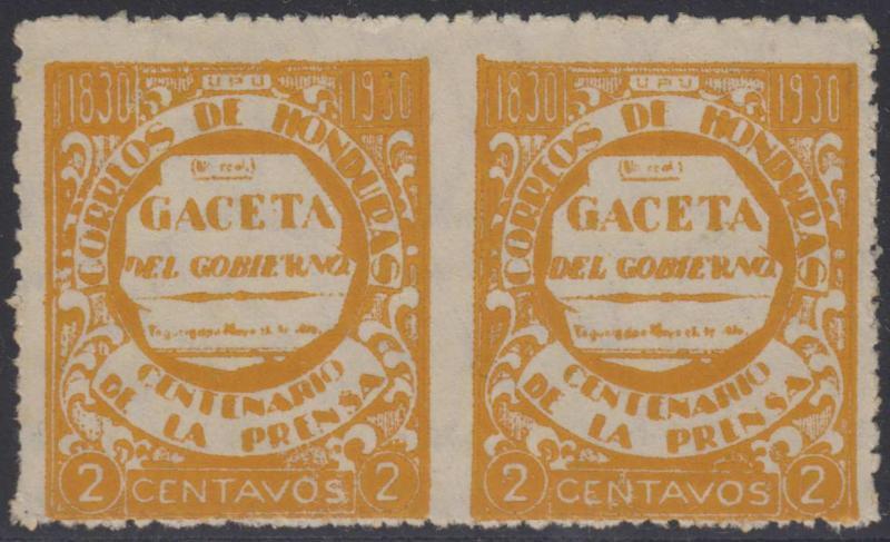 HONDURAS 1930 Sc 295 PAIR VERTICALLY IMPERF UNUSED F,VF