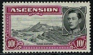ASCENSION KG VI 1938-53 10/- BLACK & BR. PURPLE UNUSED(MH) SG47 Wmk.MSCA VGC