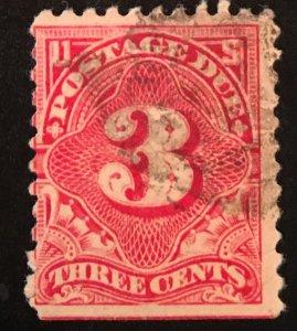 J63, Postage Due 3c, 11 perf., NWM, dull Rose, Single, Vic's Stamp Stash