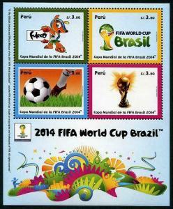 HERRICKSTAMP PERU Sc.# 1873 World Cup Soccer Brazil 2014