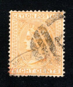 Ceylon #66,  F/VF, Used, CV $7.25 ....  1290054