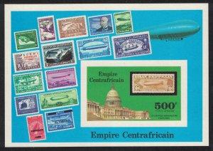 Central African Empire 'Graf Zeppelin' Flights MS De-Luxe 1977 CTO SG#MS514