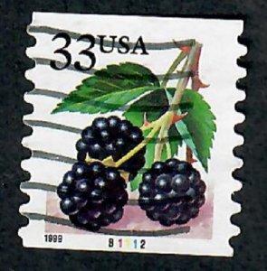 US #3304 Berries Used PNC Single plate #B1112