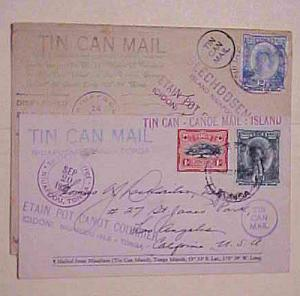 TONGA TIN CAN ISLAND 1937 MAY 14 B/S CANADA also 1937 SEPT 29