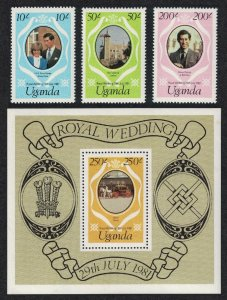 Uganda Charles and Diana Royal Wedding 3v+MS reprints SG#345-MS348