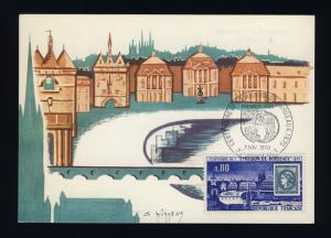 FRANCE - 1970 - Yv.1659 CENTENAIRE ÉMISSION DE BORDEAUX CARTE MAXIMUM FDC