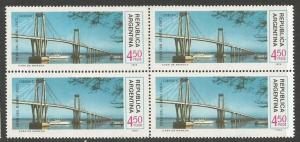 ARGENTINA 1025 MNH BRIDGE BLOCK OF 4 FOLDED [D2]