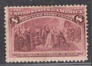 US Stamp #236 8c Magenta Columbus Restored to Favor MINT HINGED SCV $47.50