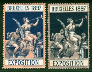 BRUSSELS EXHIBITION STAMP/LABELS {2} Belgium 1897 MULTI-COLOUR Printings Mint MM