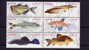 Brazil 88 Fishes/Fresh-water Block of 6 MNH Scott # 2157