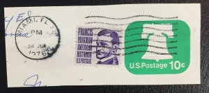 US #U567 with full cancel - Liberty Bell 10 cent w/Francis Parkman stamp