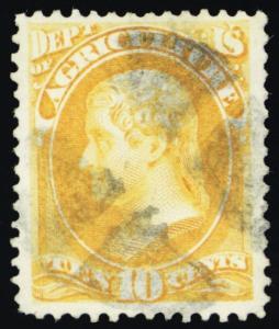 O5, Used VF (app) 10¢ Agriculture Official Stamp Cat $200.00 - Stuart Katz