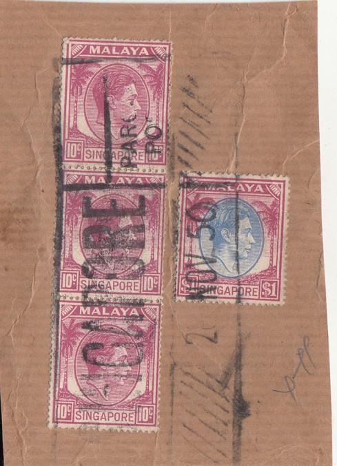 Singapore 1950  KG VI  4 Stamps To $1  Used On Piece   01618