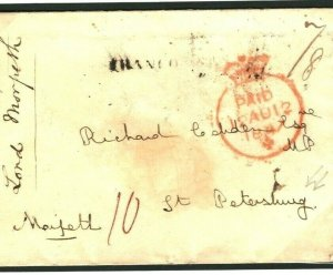 GB Cover RUSSIA DESTINATION MAIL *Lord Morpeth* RICHARD COBDEN  1847 Aachen P136