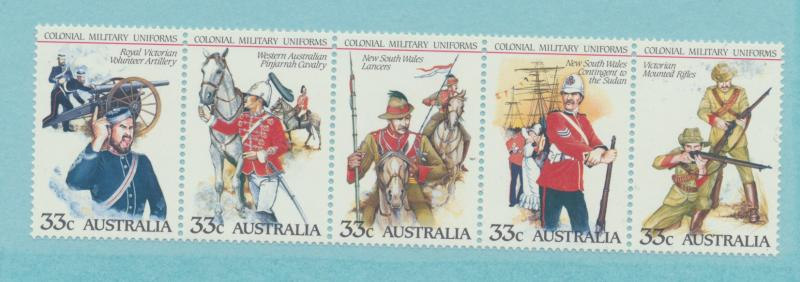 Australia Scott #945 Strip of 5, Colonial Military Uniforms Issue From 1985 -...