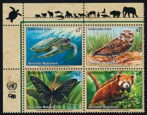 United Nations - Vienna 238a TL Block MNH Turtle, Owl, Butterfly, Lesser Panda