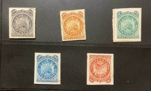 J) 1869 BOLIVIA, COAT OF ARMS, AMERICAN BANK NOTE, DIE PROOF, SET OF 5 IMPERFORA