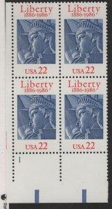 US, 2224, MNH, PLATE BLOCK, 1986, STATUE OF LIBERTY, 100TH ANNIV.