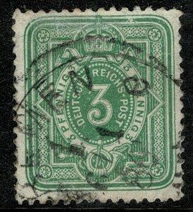 GERMANY EMPIRE 1880-87 3pf DULL GREEN USED (VFU) SG 39 P.13.5 x 14.5 VF