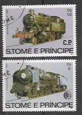 St Thomas and Prince # 114 - 116.  Issued 1982 Trains