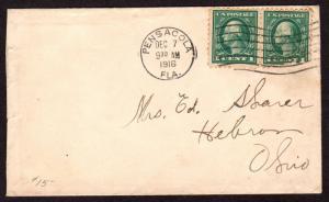 $Florida Machine Cancel Cover, Pensacola, 12/7/1916, 7 wavy lines slope down