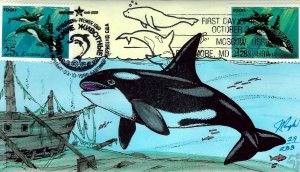Pugh Designed/Painted Joint US & Russia Killer Whale FDC...29 of 233 created!