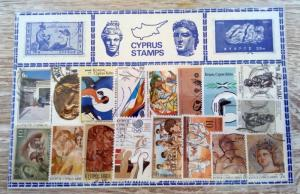 17 Cyprus Stamps Collection VG condition Souvenir Sheet