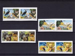 Senegal 1992 Sc#976/979 Butterfly/Bird/Snake/Natl.Parks Set(4) PAIR Imperforated