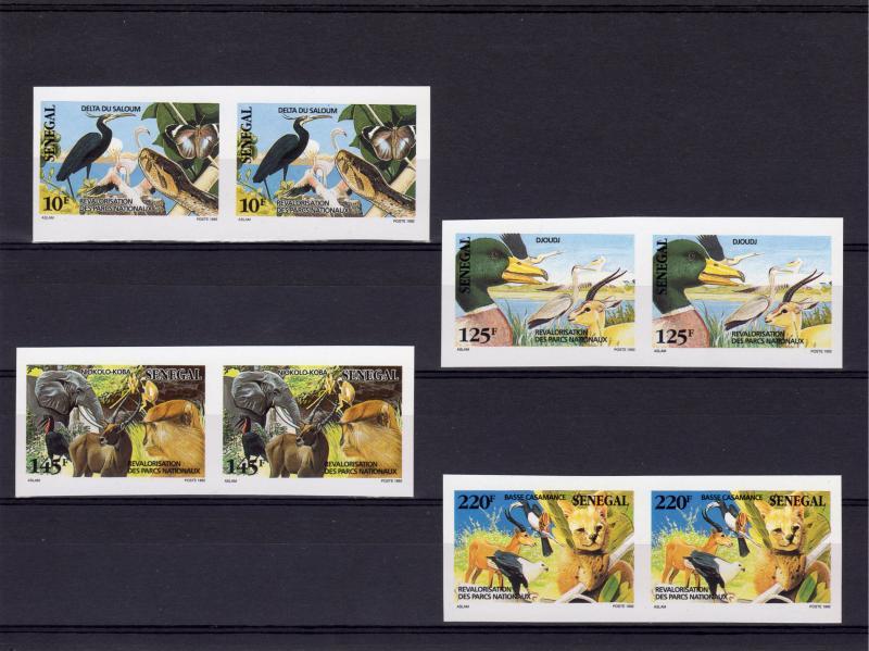 Senegal 1992 Sc#976/979 Butterfly/Bird/Snake/Natl.Parks Set(4) PAIR Imperforated