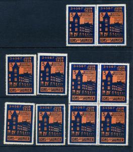 10 VINTAGE 1936 JOURNEES URASSIENNES FAIR POSTER STAMPS (L781) SAUNIER FRANCE