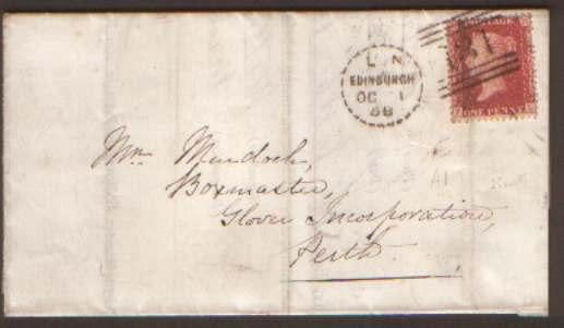 SCOTLAND 1858 E 1d Red Canc Edinburgh Dotted Duplex  Type...
