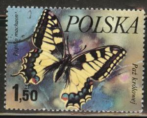 Poland Scott 2229 Used 1977  favor canceled Butterfly stamp