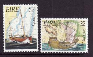 Ireland-Sc#858-9-unused NH set-Ships-Maritime Heritage Year-1991-