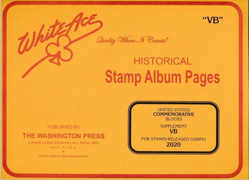 WHITE ACE 2020 US Commemorative Blocks Stamp Album Supplement VB