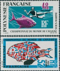 French Polynesia 1969 Sc#C52-C53,SG95-96 Underwater Hunting set MLH