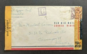 1943 Suriname Censored Airmail Cover to Chicago Illinois U Aux